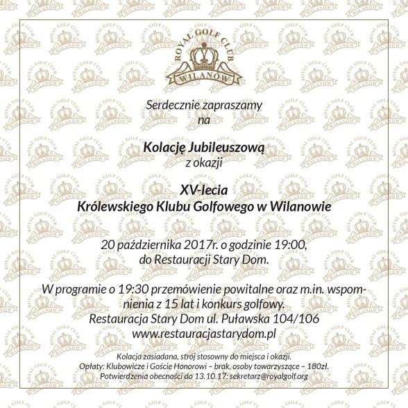 Zaproszenie na kolację jubileuszową RGCW